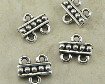 Beaded 2-1 Connector Link Findings - Chandelier Multi Strand Qty 4 - TierraCast Silver Plated Lead Free Pewter - I ship Internationally NP