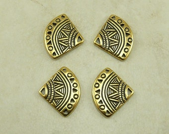 4 TierraCast Ethnic Fan 5-1 Link Connector > Tribal Egyptian Incan Mayan 22kt Gold Plated LEAD FREE Pewter bead I ship Internationally 3013