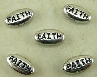 5 TierraCast FAITH Word Beads * Religion Christmas Belief - Rhodium Silver Plated Lead Free Pewter - I ship Internationally NP