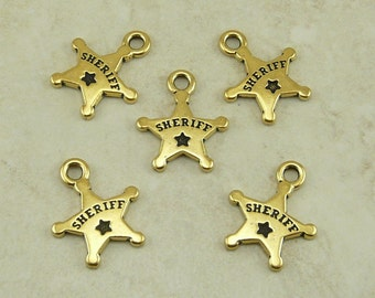 5 TierraCast Sheriff Badge Charms * Police Law Enforcement Deputy - 22kt Gold Plated Lead Free Pewter - I ship Internationally NP