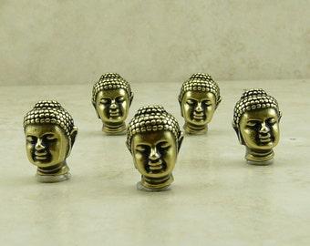 5 TierraCast Buddha Beads > Buddhist Yoga Zen Tranquility Spirituality - Brass Ox Plated Lead Free Pewter - I ship internationally 5718