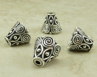 Ornate Spiral Cone Bead Caps >  Celtic Zen Doodle Swirl TierraCast Qty 4 - Fine Silver Plated LEAD FREE pewter - I ship internationally NP