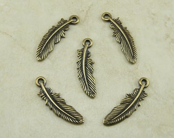 Bird Feather Charms Small TierraCast > Eagle Hawk Crow Indian Western Quill Qty 5 Brass Ox Plated Lead Free Pewter I ship Internationally NP