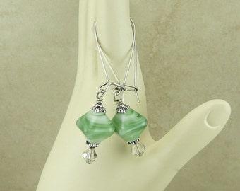 Irish Isles Lampwork Crystal Beads & Swarovski Earrings - St Patricks Day Green Spring Garden - Surgical Steel Kidney Ear Wires E1-29