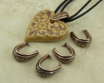 5 TierraCast Spiral Pinch Icepick Bails > Swirl Celtic Zen Doodle - Copper Plated Lead Free Pewter - I ship internationally - 5784