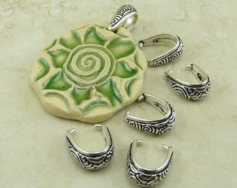 4 TierraCast Spiral Pinch Bails > Swirl Celtic Zen Doodle - Fine Silver Plated Lead Free Pewter - I ship internationally - 5784
