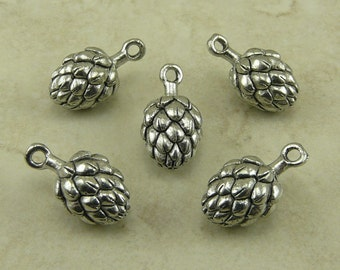 5 Beer Hops Flower Cap Charms > Craft Brew Brewery Home IPA Lager Raw Unfinished American Made Lead Free Silver Pewter Ship internationally