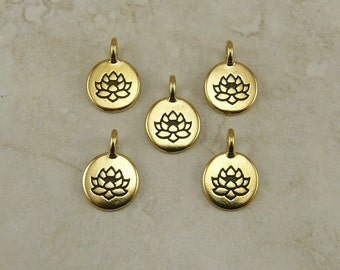 Lotus Stamp Round charms TierraCast Qty 5 > Zen Yoga Buddhism Stampable - 22kt Gold Plated Lead Free pewter - I ship Internationally NP