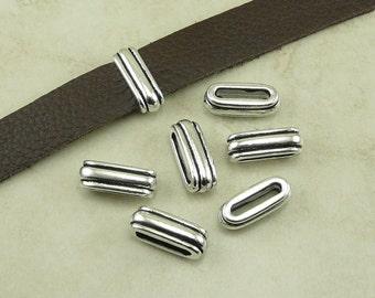 6 TierraCast Large 12x2mm ID Deco Ribbed Slide Barrel Crimp Spacer Beads - Fine Silver Plated Lead Free Pewter - I ship Internationally 5805
