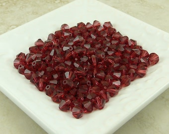 Hot Pink Cranberry > Czech Bohemian Machine Cut 6mm Bicone Crystals - Qty of 24 beads  - I ship Internationally