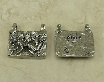 Pixie Green Girl Link Charm Pendant - Fairy Flying Fantasy Sprite Woodland Creature 2 Hole American Artist Made Lead Free Pewter Silver 217