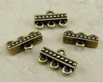 4 Beaded 3-1 Link Connectors  - TierraCast Brass Ox Plated LEAD FREE Pewter bead - 3055