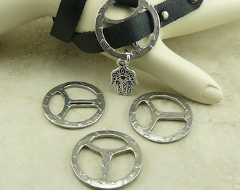 """3 TierraCast Rock & Roll Design Tribuckle for 1/2"""" Leather Clasps Antique Pewter Finish Plated Lead Free Pewter I ship Internationally 6181"""