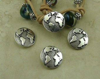Earth Buttons > World Peace Earth Day Mother Planet Globe Qty 3 - TierraCast Fine Silver Plated LEAD FREE Pewter - I ship Internationally NP