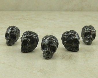 Rose Skull Beads Gothic Halloween Gothic Day of the Dead Flower TierraCast QTY 5 Black Ox plated Lead Free Pewter I ship internationally NP