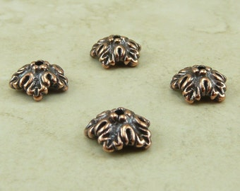 Bead Caps 10mm Oak Leaf TierraCast > Leaves Fall Autumn Tree Spring Qty 4 - Copper Plated Lead Free Pewter - I ship Internationally 5579