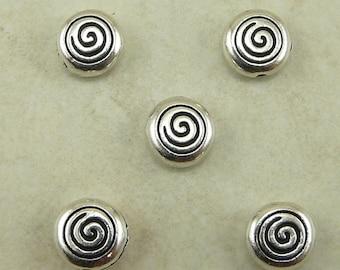 5 TierraCast Celtic Spiral Beads > Swirl Dolman Tribal - Silver Plated Lead Free Pewter - I ship internationally 5544