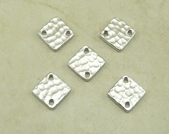 Small Square Diamond Hammertone Hammered Bead Links Qty 5 - TierraCast Rhodium plated Lead Free Pewter - I ship Internationally NP