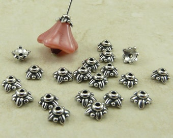 5mm Small Leaf Bead Caps > Leaves Floral Flower TierraCast Qty 20 Rhodium Silver Plated Lead Free Pewter - I ship Internationally NP