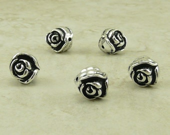 Rose Flower Beads TierraCast Qty 5  > Floral Garden Bride Bridal Wedding Spring - Silver Plated Lead Free Pewter - I ship Internationally NP
