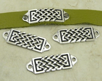 4 TierraCast Celtic Focal Link Bars > Leather Rivets Chain Mail Irish - Fine Silver Plated Lead Free Pewter - I ship Internationally 3179