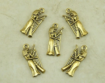 5 Egyptian Musician Playing Harp Charms > Raw American made Lead Free Pewter in gold tone finish - I ship internationally