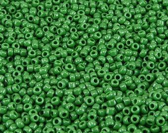 TOHO 11/0 Round Seed Beads - Opaque Pine Green - 20 gram Bag - Shamrock Grass Forest Pine Tree Deep - Color Code 47H - Jar 85