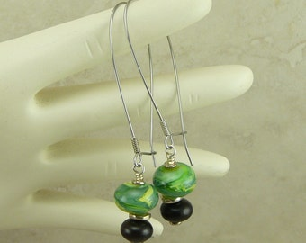 Lime in the Coconut Lampwork Beads & Swarovski Earrings - Lime Green Brown Wood - Surgical Steel Kidney Ear Wires