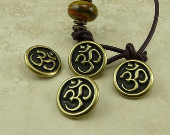 3 TierraCast Om Buttons - Spiritual Zen Buddhist Yoga Peace * Brass Ox Plated LEAD FREE Pewter - I ship Internationally 6568
