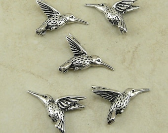 Hummingbird Humming Bird Beads TierraCast Qty 5 > Flower Garden Pollination - Fine Silver Plated LEAD FREE pewter  International Shipping NP