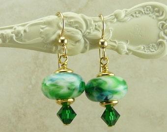 Green Emerald Swirl Lampwork Bead Earrings -  Emerald Swarovski Crystal - Gold Filled Ear Wires