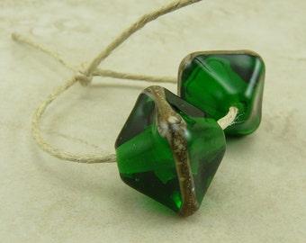 Made to Order Emerald Green Glass Crystals - St Patricks Day Irish Ireland May Birthstone - Lampwork Bead Pair SRA I ship Internationally