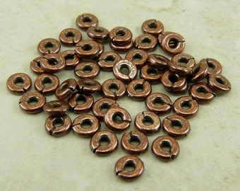 50 TierraCast 4mm Kenyan Heishi Spacer Beads > Disc Washer Disk Donut - Copper Plated Lead Free Pewter - I ship internationally 0405