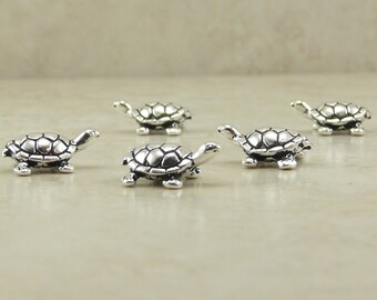 5 TierraCast Turtle Beads > Tortoise - Fine Silver Plated Lead Free Pewter - I ship internationally 5538