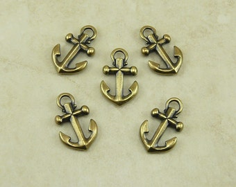 5 Small TierraCast Ship Anchor Charms > Boat Nautical Ocean Sea Captain Pirate Brass Ox Plated Lead Free Pewter I Ship Internationally 2359