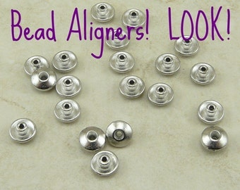 Bead Aligner Bead Caps 6mm Classic TierraCast Qty 20 * Large Hole Lampwork - Rhodium Plated Lead Free Pewter - I ship Internationally NP