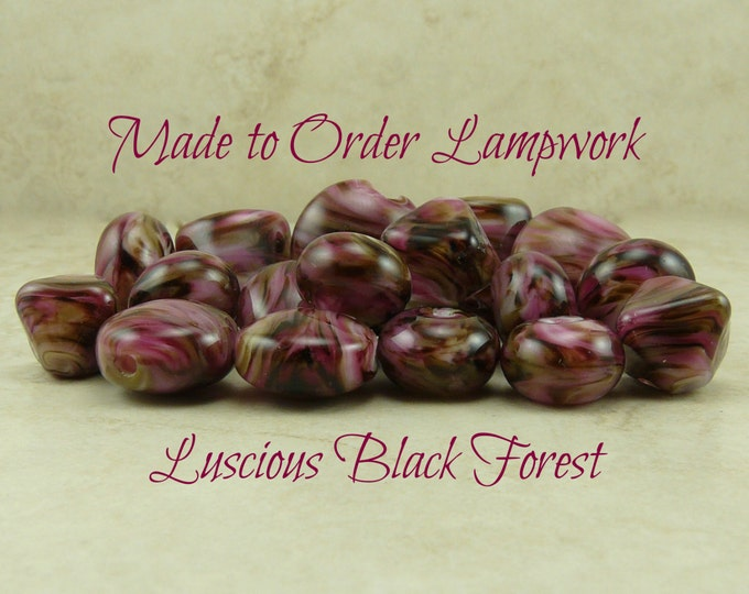 Featured listing image: Luscious Black Forest > Chocolate Burgundy Mocha Valentine Raspberry Cherry - Made To Order Lampwork Beads SRA Please READ Full Description
