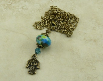 Tranquil Zen Hamsa Hand and Lampwork Bead Adjustable Necklace - Brass Chain Teal Aqua Lavender Yoga Peace Green - I ship Internationally