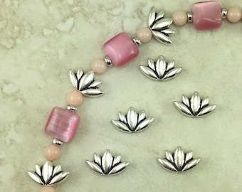 Lotus Beads > Flower Floral Zen Yoga Buddhism Qty 5 TierraCast FineSilver Plated Lead Free pewter - I ship Internationally NP