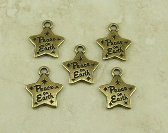 5 Tierracast Peace on Earth Star Charms - Holiday Ornament World Peace Love - Brass Ox plated Lead Free Pewter - I ship Internationally 2375