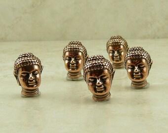 5 TierraCast Buddha Head Beads > Buddhist Spiritual Yoga Zen Enlightenment - Lead Free Copper plated Pewter- I ship internationally 5718