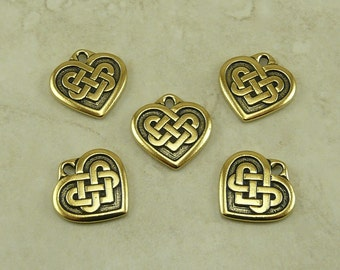 Large Heart Shaped Celtic Knot Charms > Love Irish Ireland Qty 5 TierraCast 22kt Gold Plated Lead Free Pewter - I ship Internationally NP