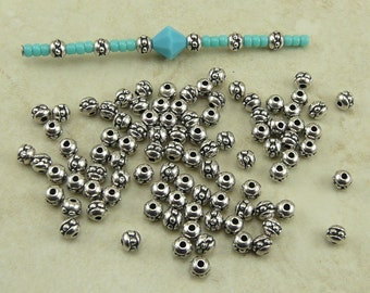 Silver 8/0 Seed Bead Spacer Beads Tiny - Qty 50 TierraCast > Fine Silver Plated LEAD FREE Pewter 0447