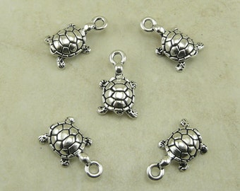 5 TierraCast Turtle Charms > Tortoise Sea Turtle Water Creature - Fine Silver Plated Lead Free Pewter - I ship internationally 2129