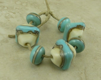 Turquoise & Silvered Ivory Crystal Lampwork Bead Set > Western Organic Cowboy Rodeo Natural Mother Earth Spacers - SRA Ship Internationally