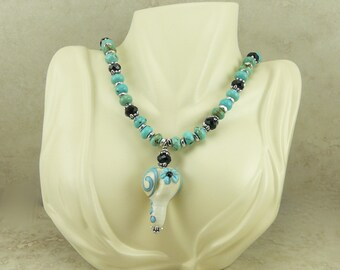Spiral Heart Flower Lampwork Bead and Turquoise Magnesite Necklace - Ivory Silver Western Cowgirl Rodeo Southwest  - I ship Internationally