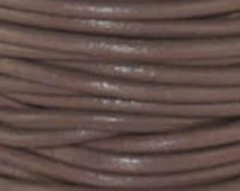 "2mm Round Enland Leather Lace Cord - 2mm 3/32"" Dark Gray Brown Diameter Craft Jewelry Bracelet Wrap Necklace - I ship Internationally"