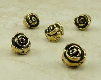 Rose Flower Beads TierraCast Qty 5 > Floral Bride Bridal Wedding Garden Spring - 22kt Gold Plated Lead Free Pewter I ship Internationally NP