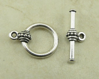 1 TierraCast Large Bali Style Beaded Toggle Set > Silver Plated LEAD FREE Pewter - I ship Internationally 6058