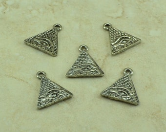 5 Eye of Ra Egyptian Pyramid Charms > Guza Valley of the Kings Tut - Raw American Made Lead Free Silver Pewter - I ship internationally